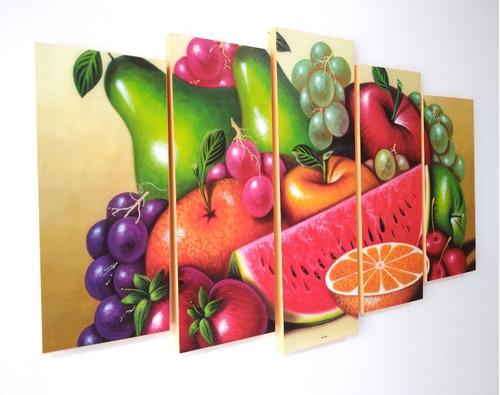 Imagen 1 de 7 de Cuadro Decorativo Frutas Comedor Quíntuple