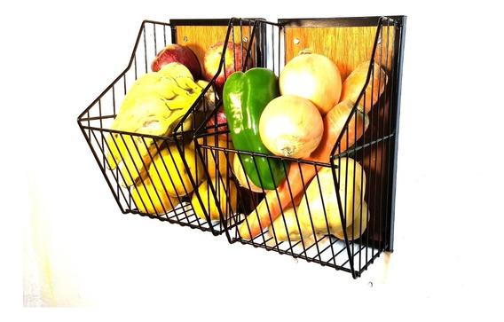 Fruteira Porta Legumes Parede Cozinha Kit 2 Peças Exclusivo