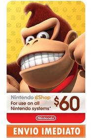 Cartão Nintendo Switch 3ds Wii U Eshop Card $60 $50+$10 Usa