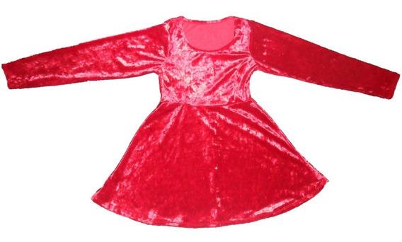Vestido Manga Larga Símil Terciopelo Rojo T4-14