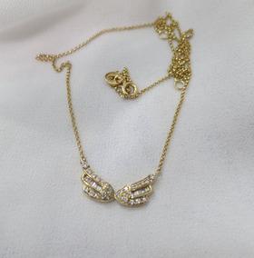 Colar Asas Em Ouro Amarelo Com Diamantes Carrê E Redondos