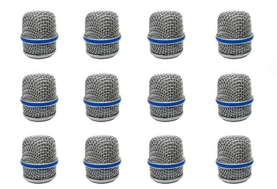 Kit 12 Globo Metalico Microfone Prata Para Btm57 + Nf!