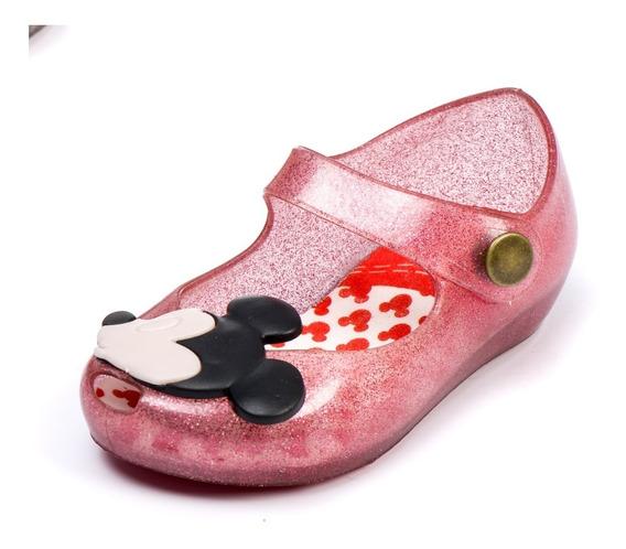 Sapatilha Mickey E Minnie Baby Tipo Melissa Rosa Glitter