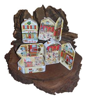 Caja De Lata Casa De Navidad Taller De Santa Claus Alhajero