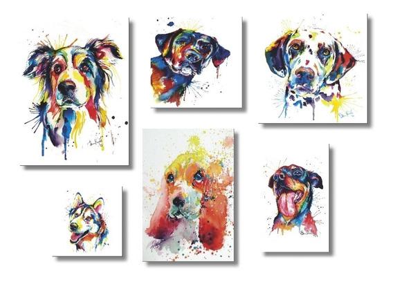 Placas Decorativas Mdf Cães Amigos E Fiéis 6 Quadros