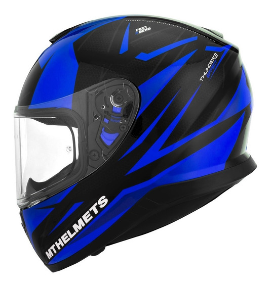 Casco Moto mt Thunder3 Effect negro Brillo Azul integral