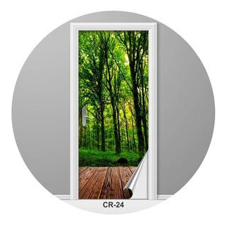 Adesivo Para Porta Visão Da Mata Floresta Criativo Cr-24