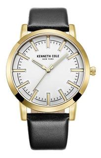 Reloj Hombre Kenneth Cole 10030810 Malla De Cuero Negra