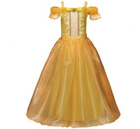 Vestido Fantasia Luxo Infantil Princesa A Bela E A Fera