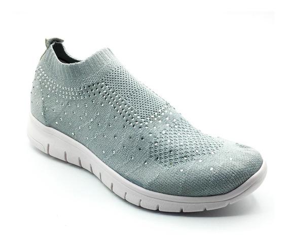 Zapatillas Mujer Sneakers Gris Tela Urbanas Elastizada Moda