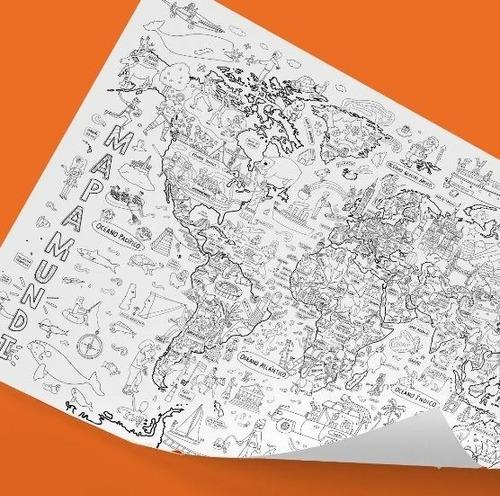 Atlantis Mapas: Lámina Gigante Para Pintar - Mapamundi