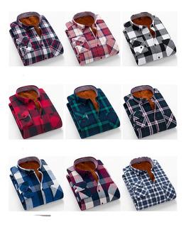 Fleece Forrado A Cuadros Impresos Camisa Para Hombres S-2xl