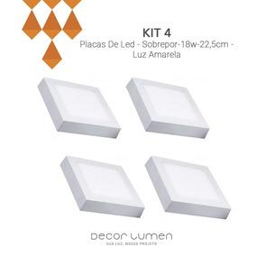 Kit 4 Placas De Led - Sobrepor-18w-22,5cm- Luz Amarela