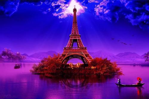 Painel Festa Lona Aniversário 15 Anos Torre Eiffel Lilás Ros