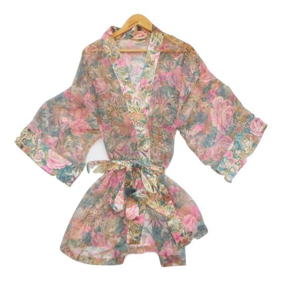 Victorias Secret Ba Kimono Satin Print M-g
