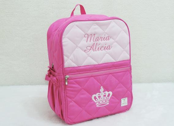 Mochila Infantil Personalizada Pink Coroa Princesa
