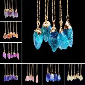 Kit 5 Colares Cristal Pedra Natural De Quartzo