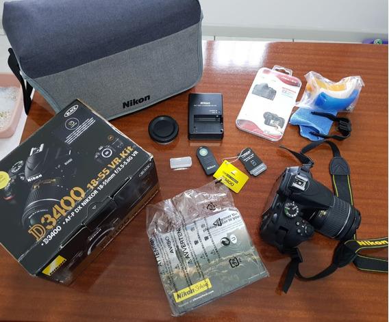 Câmera Nikon D3400 Com Lente 18-55 Vr + Bolsa De Transporte