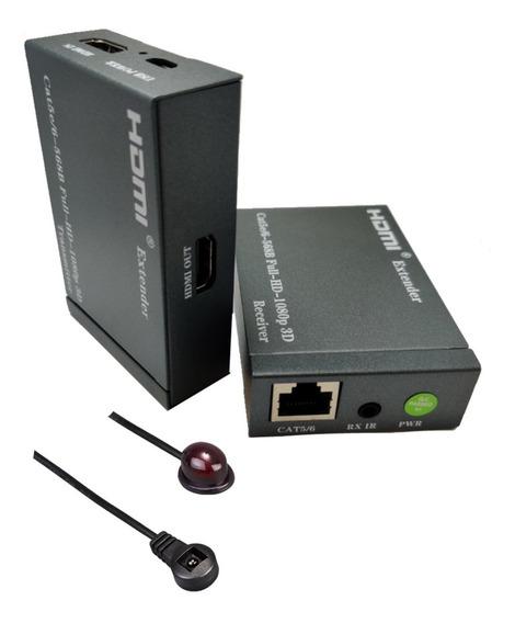Extensor Hdmi Fullhd Cabo Internet Cat6 Controle Remoto Ir