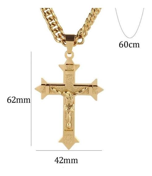 Crucifixo E Cordão Grosso Ostentação Banhado Ouro 18k