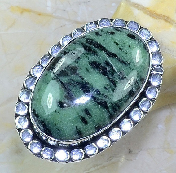 Anel Aro 18 Artesanal Prata Indiana Pedra Zoisite Natural
