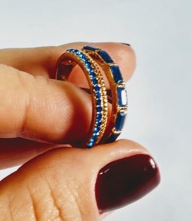 Anel Duplo Dourado C/2 Tons De Azul (royal E Marinho) No. 18