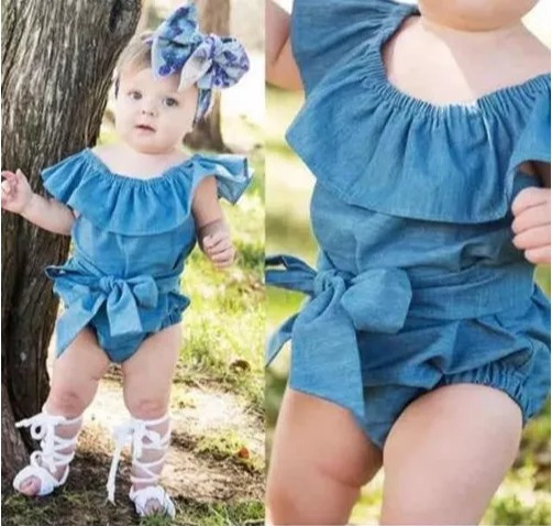 Body Estilo Jeans Menina Bebê Moda Infantil Bodie Criança