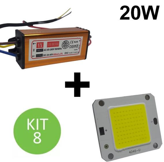 Chip + Reator Driver Reposição Refletor Led 20w Bivolt Kit 8