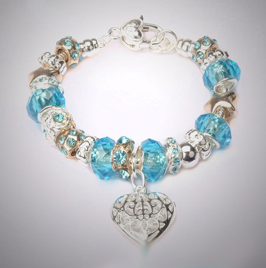 Pulseira Estilo Pandora Detalhes Azul Banhado Prata E Ouro