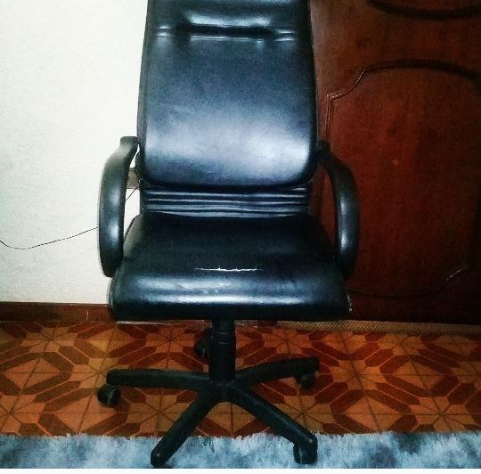 Cadeira De Escritorio Giratória Em Couro Presidente