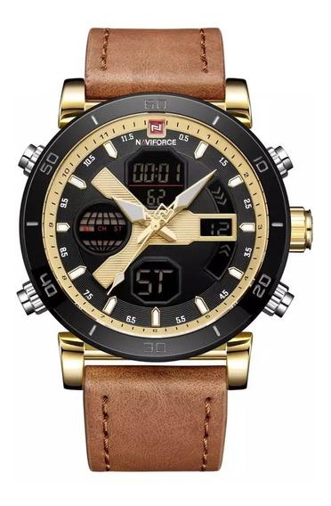 Relógio Naviforce Esporte Militar Digital Couro Nf9132