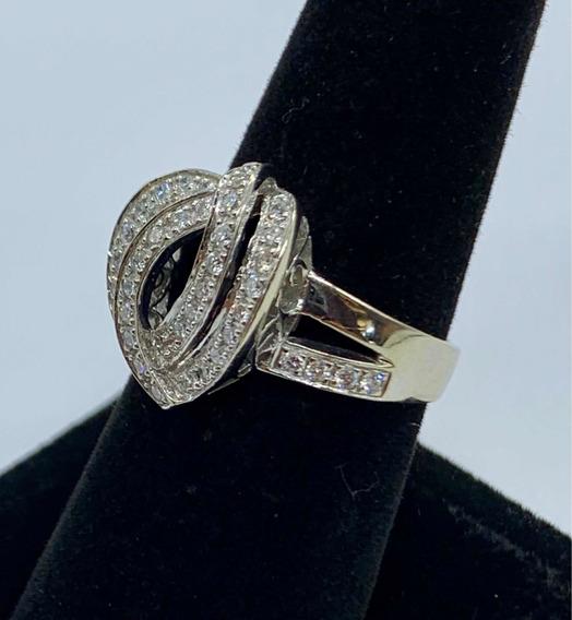 Anillo Para Dama Oro Blanco Sólido De 14k Con 48 Diamantes !