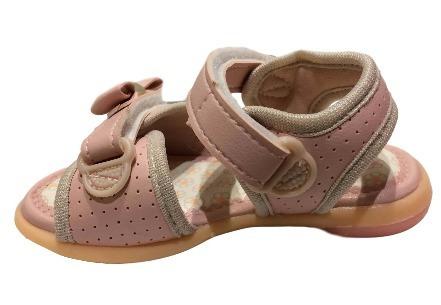 Sandalia Nenem Menina Nude Rosado Baby Lacinho 4005