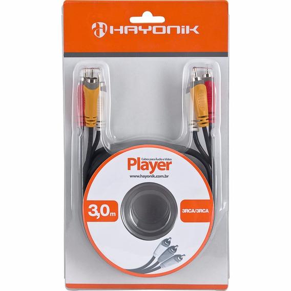 Cabo Hayonik De Audio E Video 3 Rca X 3 Rca Player 3 Metros