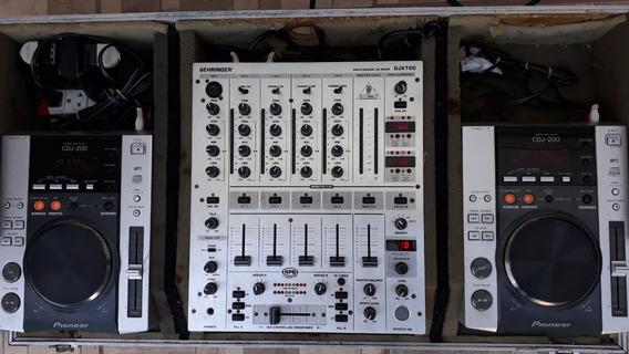 Par Cdj-200 Pionner + Mixer Behringer Djx700 + Case Completo