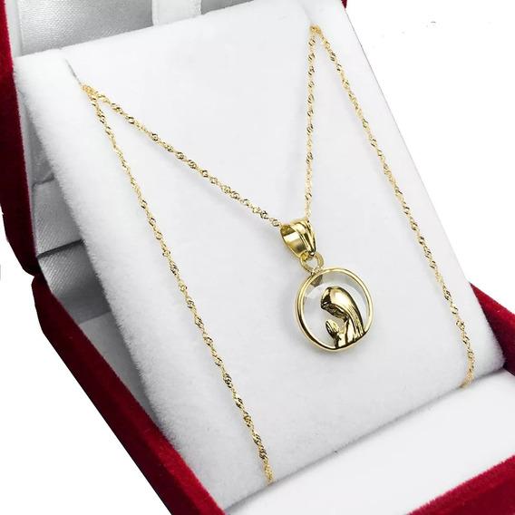 Conjunto Oro 18 K Dije Cristal De Roca Virgen Niña + Cadena