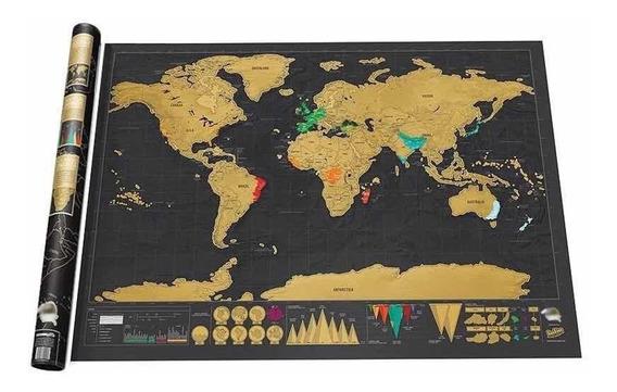 Mapa Mundi De Raspar Viagens Raspadinha Scratch Map 80x60 Cm