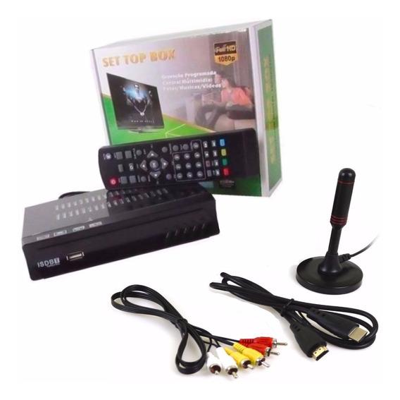 Kit Conversor Digital Tv Antena Interna Externa Cabo 3,0mts