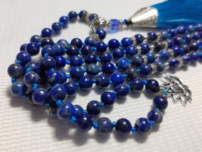 Japamala Lápis Lazuli Detalhes Em Prata E Prata Tibetana