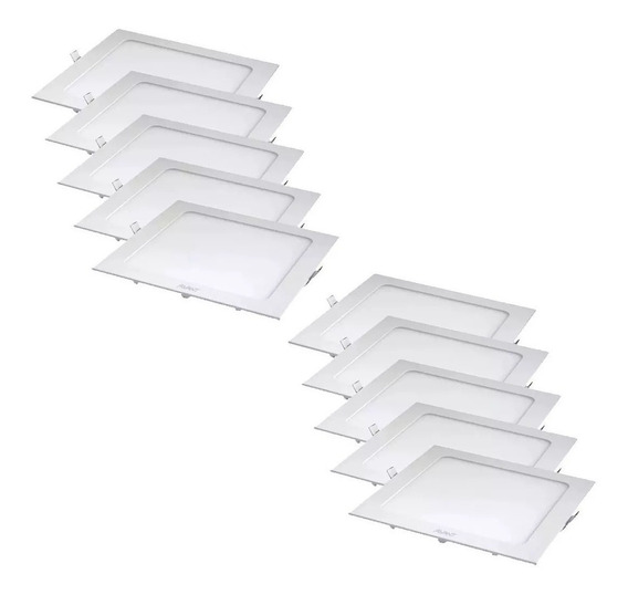 Kit 10 Painel Plafon Led 24w Quadrado Embutir Branco Frio