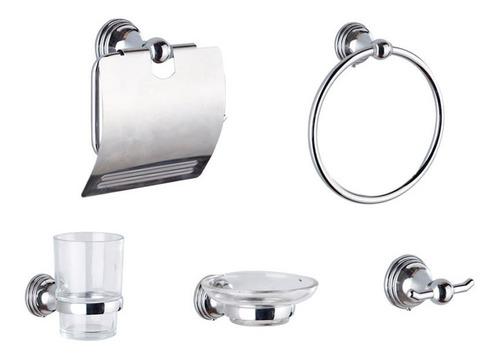 Imagen 1 de 10 de Set De Accesorios Para Baño 5 Piezas Kit Toallero Jabonera