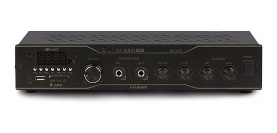 Amplificador Frahm Slim 2000 App Optical Bt Usb Sd Casa