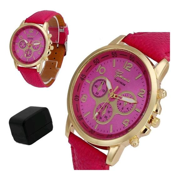 Relógio Feminino Dourado Geneva Números Brinde Caixa