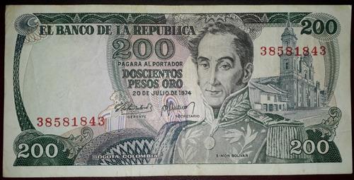 Imagen 1 de 3 de Colombia Billete De 200 Pesos Año 1974 Primera Fecha