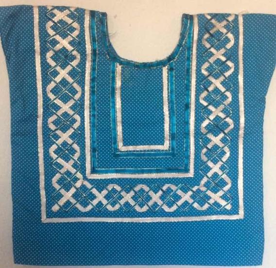 Huipil Azul Moteado Con Liston