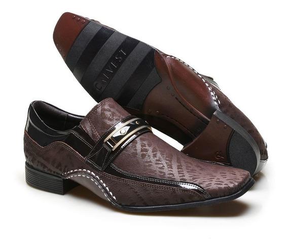 Sapato Social Masculino Calvest Com Metal Dourado Escamado