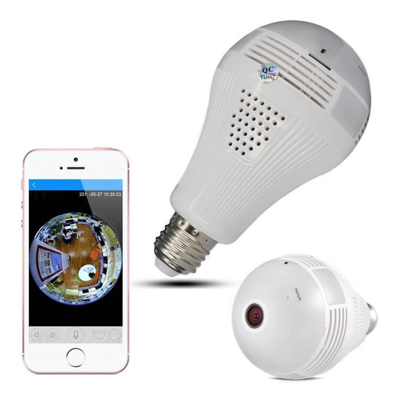 Câmera Ip Wifi 360 Graus Panorâmica Hd Com Luz Led Barato