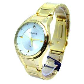 Relógio Atlantis G3447 Dourado Fundo Branco Fem - Original