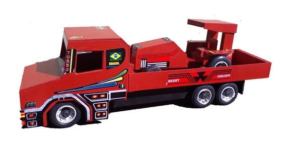 Caminhão Menino Infantil Com Trator Brinquedo Em Madeira