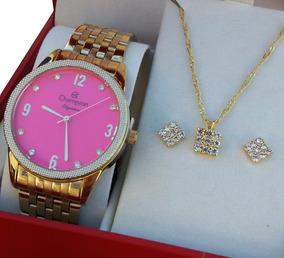 Relógio Cn26082j Champion Dourado Feminino Fgrátis +brincos